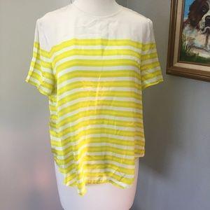 FACONNABLE Silk Striped Short Sleeve Blouse